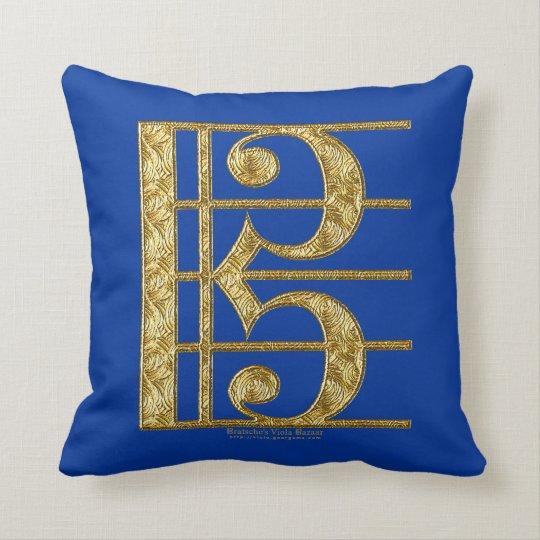 Golden Alto Clef Throw Pillow