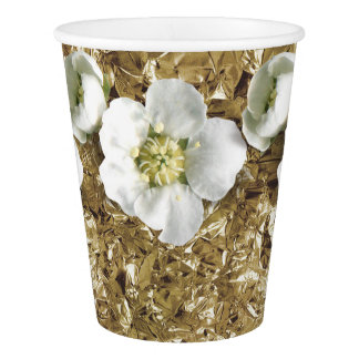 Golden Aluminium Foil Tropical Flower Jasmin Paper Cup