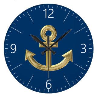 Golden anchor large clock