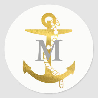 Golden Anchor | Monogrammed Classic Round Sticker