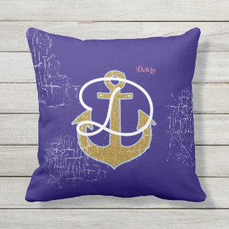 golden anchor on blue personalized nautical outdoor pillow