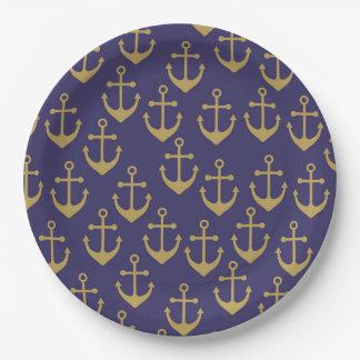 golden anchor paper plate