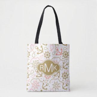 Golden Anchor Pattern | Monogram Tote Bag