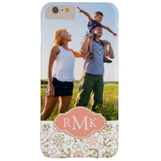 Golden Anchor Pattern| Your Photo & Monogram Barely There iPhone 6 Plus Case