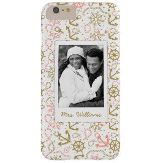 Golden Anchor Pattern | Your Photo & Name Barely There iPhone 6 Plus Case