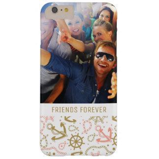 Golden Anchor Pattern | Your Photo & Text Barely There iPhone 6 Plus Case