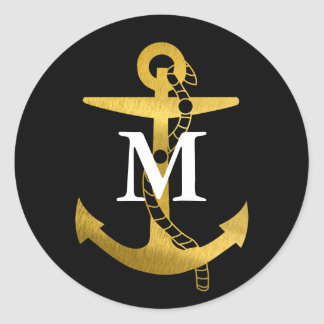 Golden Anchor | White Monogram Classic Round Sticker