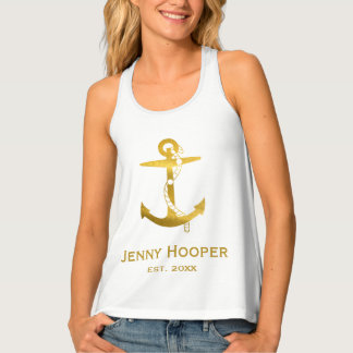 Golden anchor with name and date | Nautical Gifts Tank Top