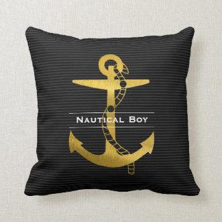 Golden Anchor with Rope   Nautical Boy Throw Pillow