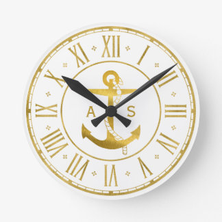 Golden Anchor with Rope | Nautical Gifts Clocks