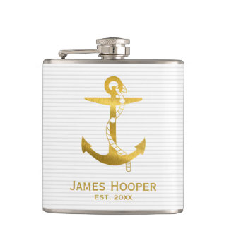 Golden Anchor with Rope | Nautical Gifts Hip Flask
