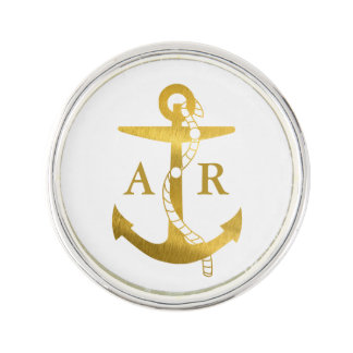 Golden Anchor with Rope | Nautical Gifts Lapel Pin