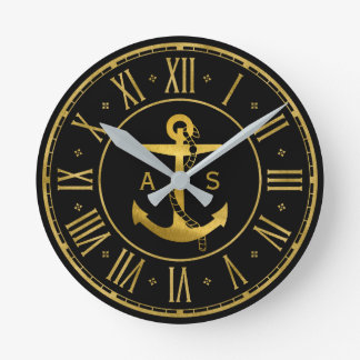 Golden Anchor with Rope | Nautical Gifts Round Clock