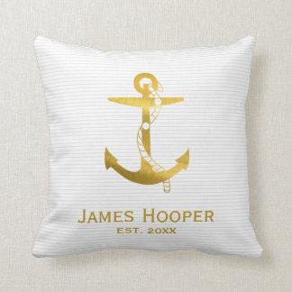 Golden Anchor with Rope | Nautical Gifts Throw Pillow