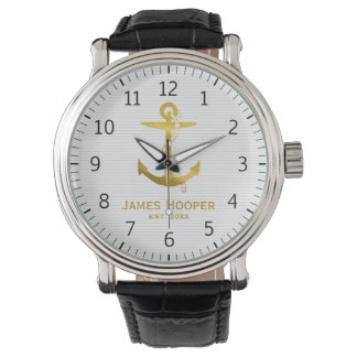Golden Anchor with Rope | Nautical Gifts Wristwatch