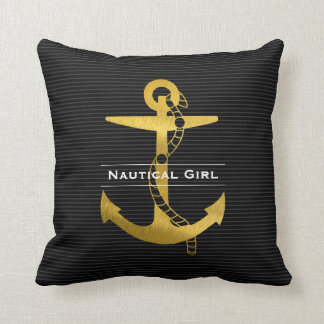 Golden Anchor with Rope | Nautical Girl Throw Pillow