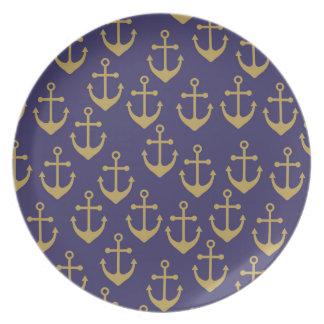 golden anchors melamine  plate