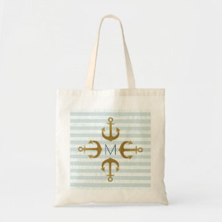 golden anchors nautical tote bag