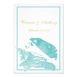 Golden and Aqua Marine Seashell Wedding Card