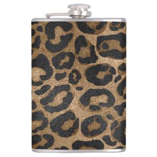 Golden and Black glitter  Leopard/ Jaguar print Hip Flask