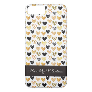 Golden and Black Hearts iPhone Case