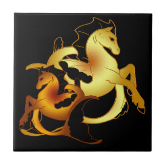 Golden and Copper Seahorses Ceramic Tile