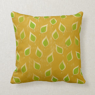 Golden and Green Leaves Throw Pillow