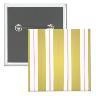 Golden and pink stripes 2 inch square button
