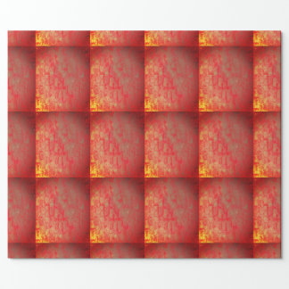 Golden and Red grid gift wrapping paper