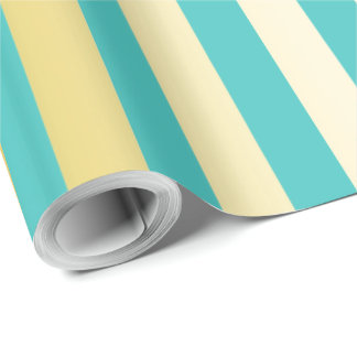 golden and turquoise vertical stripes pattern wrapping paper