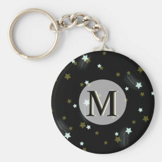 Golden and White falling Stars with Monogram Keychain
