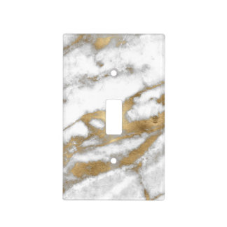 Golden and White Marble Light Switch Cover