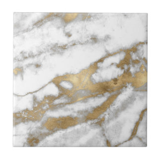 Golden and White Marble Tile
