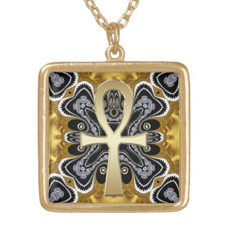 Golden Ankh symbol of life Tribal geometry pattern Gold Plated Necklace