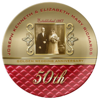 Golden Anniversary 50th Gold Quilted Red Leather Porcelain Plates