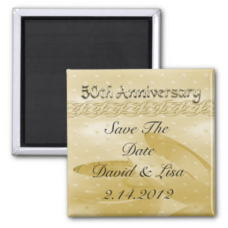 Golden Anniversary Bands Of Love Set Square Magnet