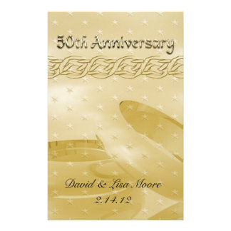 Golden Anniversary Bands Of Love Stationery Paper