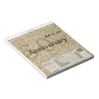 Golden Anniversary Candy Bar Wrapper Party Favor Notepad