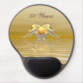 Golden Anniversary Dolphins and Heart Gel Mouse Pad