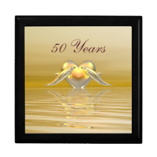 Golden Anniversary Dolphins and Heart Gift Boxes