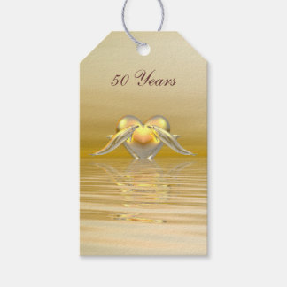 Golden Anniversary Dolphins and Heart Gift Tags