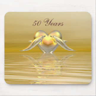 Golden Anniversary Dolphins and Heart Mouse Pad