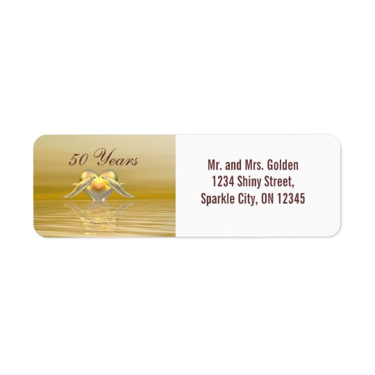 Golden Anniversary Dolphins and Heart Return Address Label