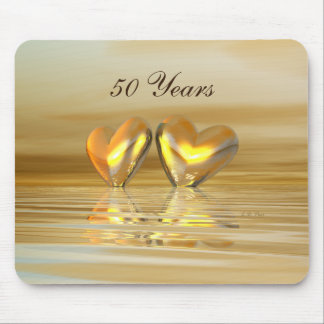 Golden Anniversary Hearts Mouse Pad