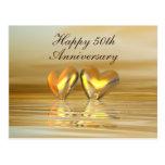 Golden Anniversary Hearts Postcard