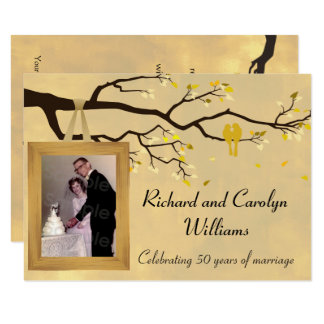 Golden Anniversary Love Birds Invitation