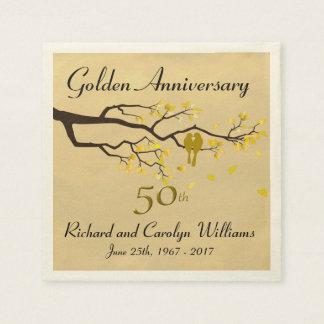 Golden Anniversary Love Birds Paper Napkins