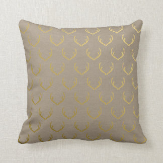 Golden Antler Pattern Throw Pillow