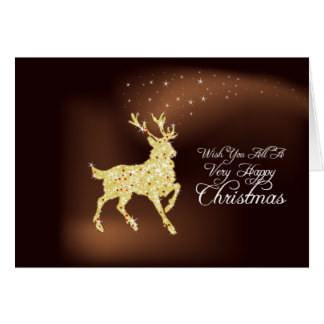 Golden Antlers Folded Holiday Photo Card