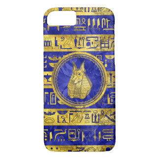Golden Anubis  with hieroglyphs on blue Case-Mate iPhone Case